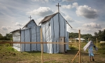 The makeshift Ethiopian Orthodox church in the refugee camp atCalais.