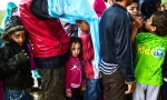Child refugees queuing for food at the makeshift camp at Idomeni, northernGreece