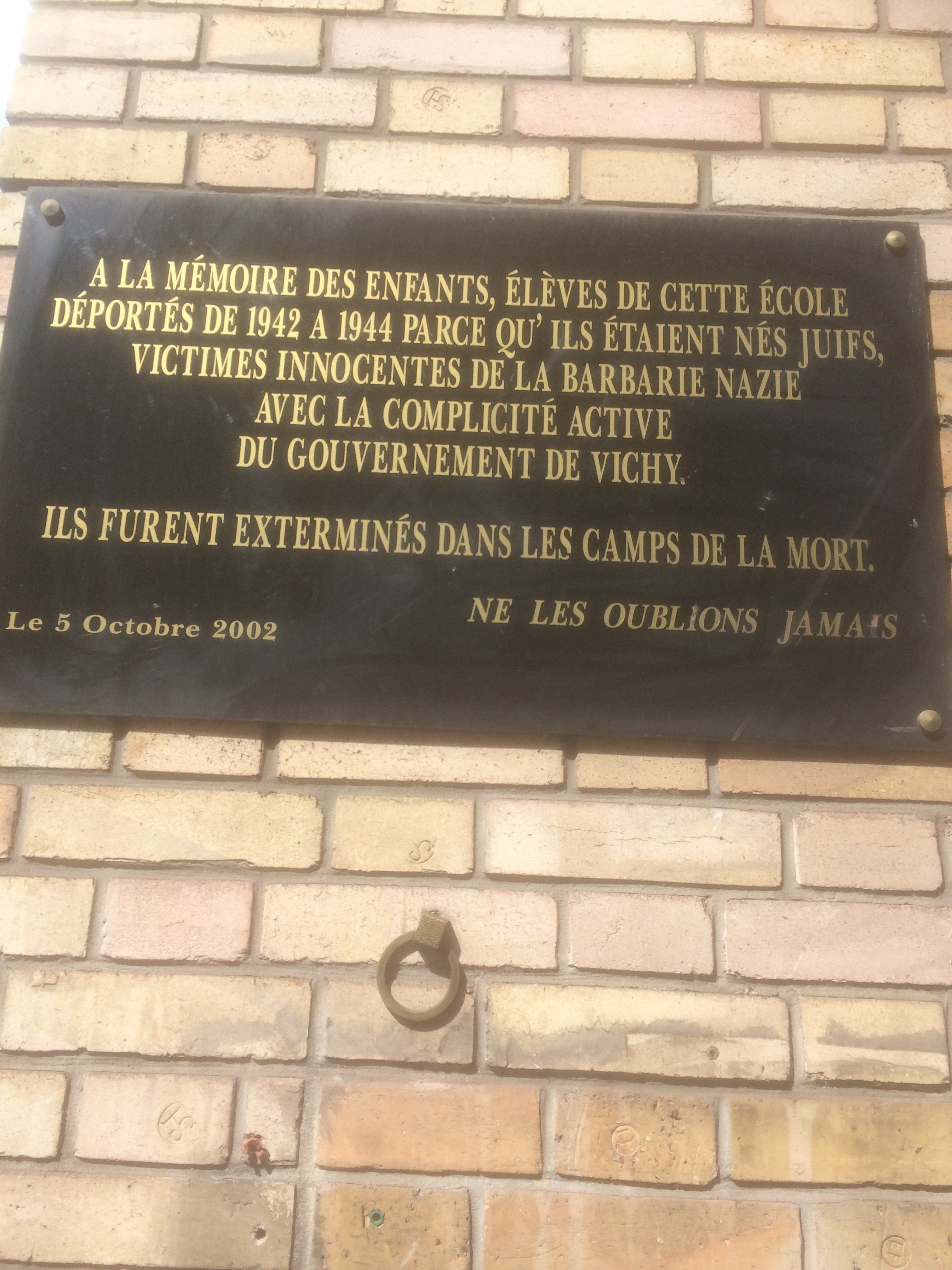 school plaque rue st jaques