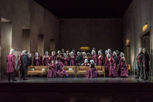 UN BALLO IN MASCHERA by Verdi; Opera North; Grand Theatre; Leeds, UK; 1 February 2018; King Gustavus - Rafael Rojas; Count Anckarström - Phillip Rhodes; Amelia - Adrienn Miksch; Ulrica Arvidson - Patricia Bardon; Oscar - Tereza Gevorgyan; Count Ribbing - Dean Robinson; Count Horn - Stephen Richardson; Christian - Richard Mosley-Evans Conductor - Richard Farnes; Director - Tim Albery; Set & Costume Designer - Hannah Clark; Lighting Designer - Thomas C. Hase; Photo credit: © CLIVE BARDA/ArenaPAL;